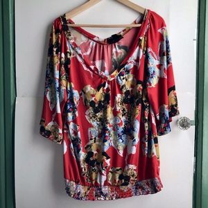 STYLE CO Red Orange White Floral 3/4 Sleeve Blouse